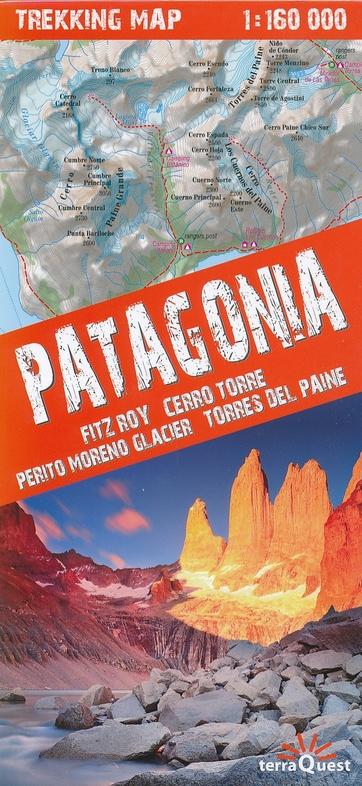 Patagonia trekking map | overzichtskaart / wandelkaart 1:160.000 9788361155621  TerraQuest   Wandelkaarten Chili, Argentinië, Patagonië