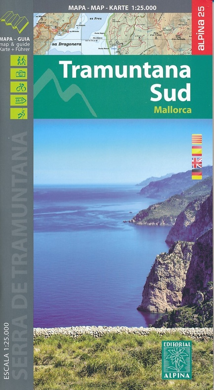 Tramuntana South-Mallorca 1:25.000 9788480906036  Editorial Alpina Wandelkaarten Spanje  Wandelkaarten Mallorca