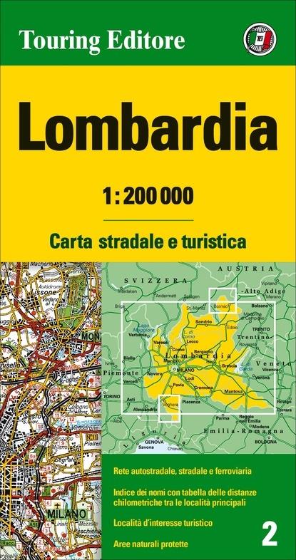 TCI-02  Lombardia 1:200.000 9788836570911  TCI Italië Wegenkaarten  Landkaarten en wegenkaarten Ligurië, Piemonte, Lombardije