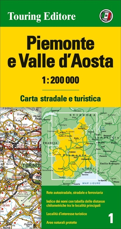 TCI-01  Piemonte / Aosta 1:200.000 9788836570928  TCI Italië Wegenkaarten  Landkaarten en wegenkaarten Ligurië, Piemonte, Lombardije
