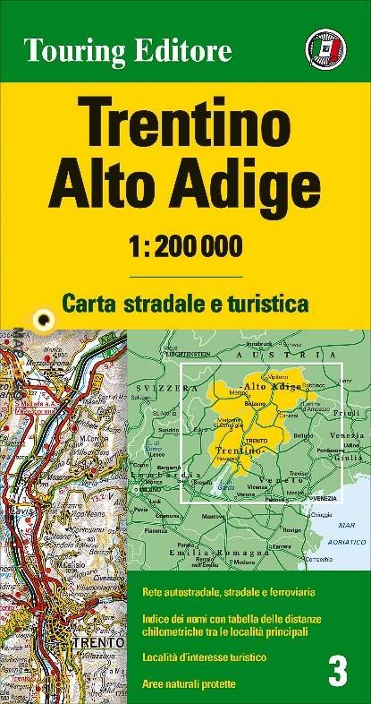 TCI-03  Trentino / Südtirol   1:200.000 9788836570959  TCI Italië Wegenkaarten  Landkaarten en wegenkaarten Zuidtirol, Dolomieten, Friuli, Venetië, Emilia-Romagna