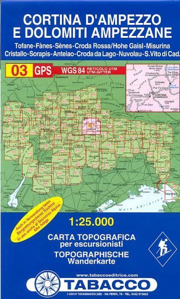 TAB-03   Cortina d'Ampezzo | Tabacco wandelkaart 9788883150036  Tabacco Tabacco 1:25.000  Wandelkaarten Zuidtirol, Dolomieten, Friuli, Venetië, Emilia-Romagna