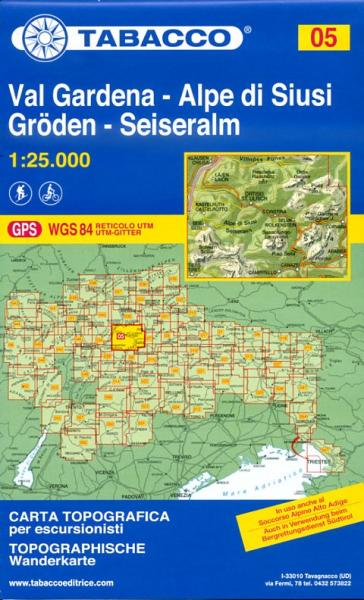 TAB-05  Val Gardena / Grödnertal - Alpi di Siusi / Seiser Alm | Tabacco wandelkaart 9788883150050  Tabacco Tabacco 1:25.000  Wandelkaarten Zuidtirol, Dolomieten, Friuli, Venetië, Emilia-Romagna