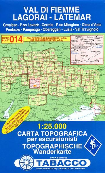 TAB-14  Val di Fiemme - Lagorai - Latemar   Tabacco wandelkaart 9788883150142  Tabacco Tabacco 1:25.000  Wandelkaarten Zuidtirol, Dolomieten, Friuli, Venetië, Emilia-Romagna