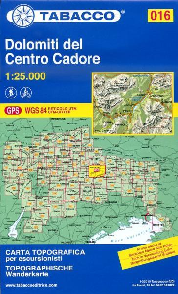 TAB-16 Dolomiti del Centro Cadore | Tabacco wandelkaart 9788883150166  Tabacco Tabacco 1:25.000  Wandelkaarten Zuidtirol, Dolomieten, Friuli, Venetië, Emilia-Romagna