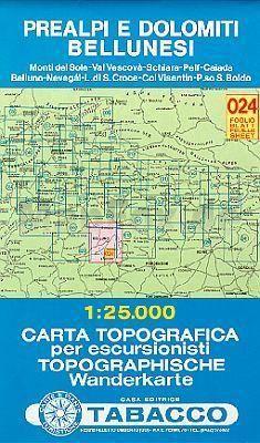 TAB-24 Prealpi e Dolomiti Bellunesi | Tabacco wandelkaart 9788883150241  Tabacco Tabacco 1:25.000  Wandelkaarten Zuidtirol, Dolomieten, Friuli, Venetië, Emilia-Romagna