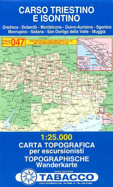 TAB-47 Carso Triestino e Isontino   Tabacco wandelkaart 9788883150685  Tabacco Tabacco 1:25.000  Wandelkaarten Zuidtirol, Dolomieten, Friuli, Venetië, Emilia-Romagna