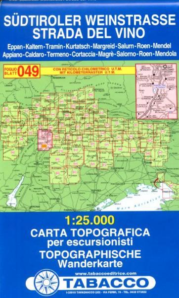 TAB-49  Südtiroler Weinstrasse   Tabacco wandelkaart 9788883150807  Tabacco Tabacco 1:25.000  Wandelkaarten, Wijnreisgidsen Zuidtirol, Dolomieten, Friuli, Venetië, Emilia-Romagna
