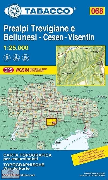 TAB-68  Prealpi Trevigiane e Bellunesi | Tabacco wandelkaart 9788883151149  Tabacco Tabacco 1:25.000  Wandelkaarten Zuidtirol, Dolomieten, Friuli, Venetië, Emilia-Romagna