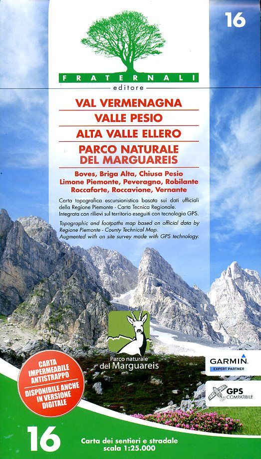 FRA-16  Vermenagna. Valle Pesio, Alta Valle Ellero | wandelkaart 1:25.000 9788897465140  Fraternali Editore   Wandelkaarten Ligurië, Piemonte, Lombardije
