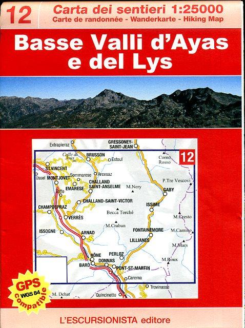 ESC-12  Bassa Valle d'Ayas e Gressoney   wandelkaart 1:25.000 9788898520015  Escursionista   Wandelkaarten Ligurië, Piemonte, Lombardije