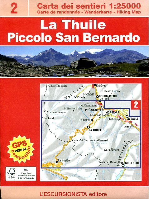 ESC-02  La Thuile, Piccolo San Bernardino   wandelkaart 1:25.000 9788898520114  Escursionista   Wandelkaarten Ligurië, Piemonte, Lombardije
