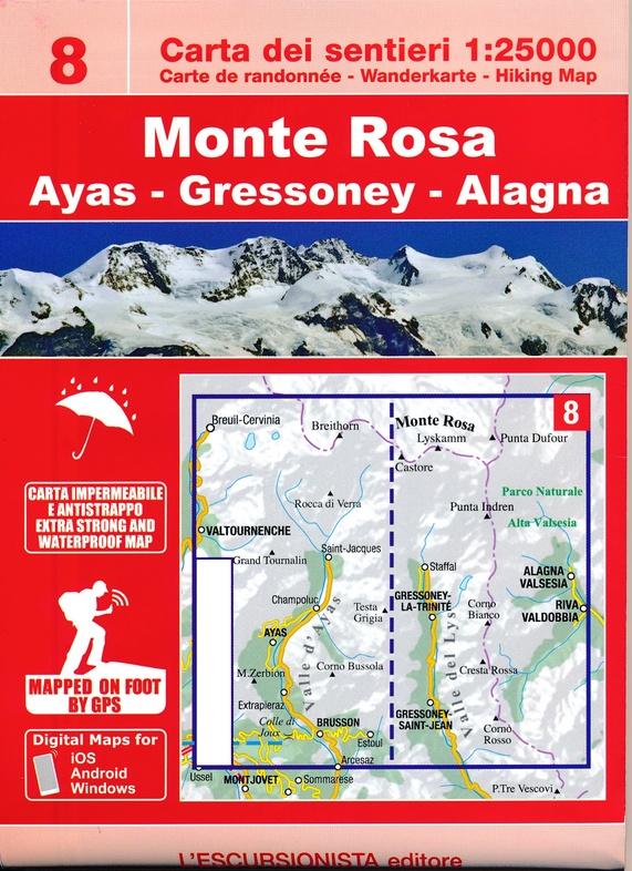 ESC-08  Monte Rosa   wandelkaart 1:25.000 9788898520688  Escursionista   Wandelkaarten Ligurië, Piemonte, Lombardije