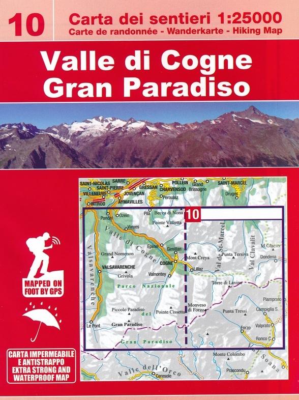 ESC-10 Valle di Cogne, Gran Paradiso | wandelkaart 1:25.000 9788898520817  Escursionista   Wandelkaarten Ligurië, Piemonte, Lombardije