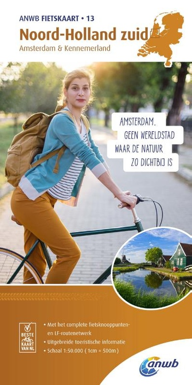 AF-13  Noord-Holland Zuid - ANWB fietskaart 1:50.000 9789018041847  ANWB ANWB fietskaarten 50.000  Fietskaarten Noord-Holland
