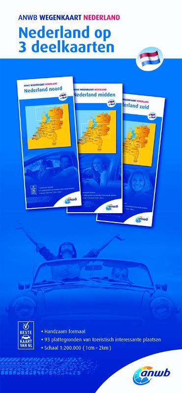 Nederland 1:200.000 wegenkaartenset in drie delen 9789018042035  ANWB Wegenkaarten  Landkaarten en wegenkaarten Nederland