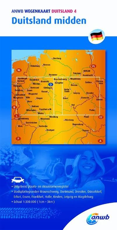Duitsland Midden 1:300.000 9789018042417  ANWB Wegenkaarten  Landkaarten en wegenkaarten Duitsland