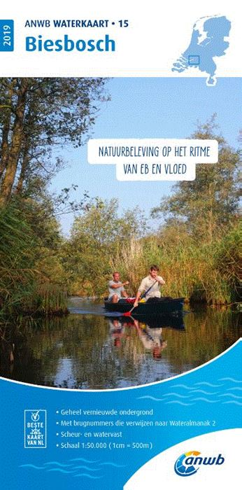 WTK-15  Biesbosch Waterkaart 9789018044855  ANWB ANWB Waterkaarten  Watersportboeken Den Haag, Rotterdam en Zuid-Holland, Noord-Brabant