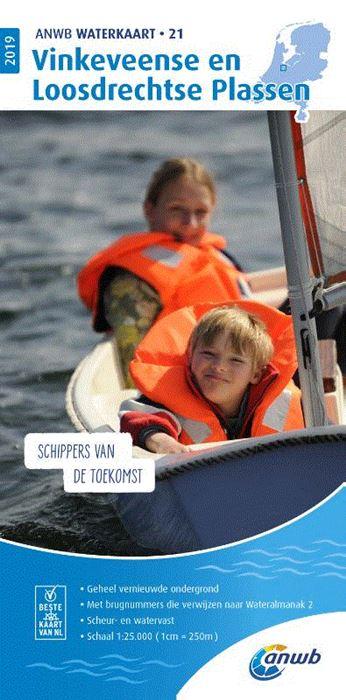 WTK-21 Vinkeveense en Loosdrechtse Plassen Waterkaart 9789018044978  ANWB ANWB Waterkaarten  Watersportboeken Den Haag, Rotterdam en Zuid-Holland