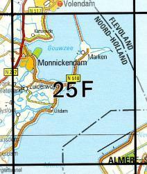 25F  Monnickendam 1:25.000 9789035002555  Topografische Dienst / Kadaster Topografische Kaart  Wandelkaarten Noord-Holland