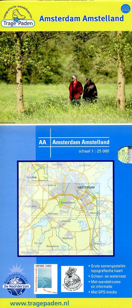 AA  Amsterdam Amstelland   wandelkaart 1:25.000 9789081396189 red.: De Noorderzon, Lopende Zaken, Pied à Terre De Noorderzon Trage Paden  Wandelkaarten Amsterdam, Noord-Holland