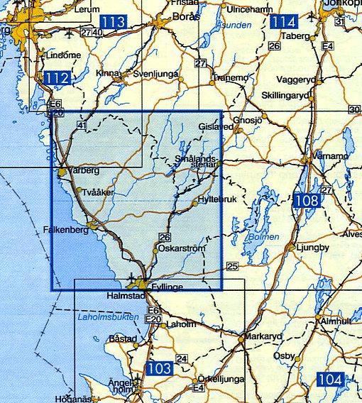 VK-107  Falkenberg 1:100.000 9789158801073  Kartförlaget - Lantmäteriet Vägkartan  Landkaarten en wegenkaarten Zuid-Zweden