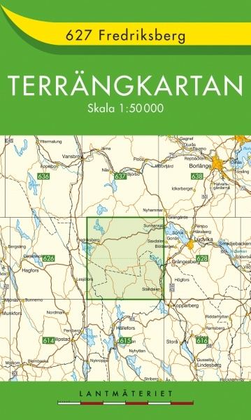 TKS-627 Fredriksberg 9789158806276  Kartförlaget - Lantmäteriet Terrängkartan  Wandelkaarten Zuid-Zweden