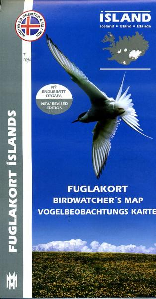 Birdwatchers Map of Iceland 1:500.000 9789979330424  Mal og Menning   Natuurgidsen IJsland
